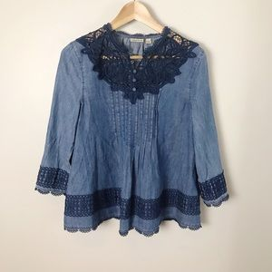 Holding Horses | Lace Chambray Swing Blouse 2